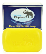 Natural Elephant Dead Sea Sulphur Soap 130ml Revitalising Face and Body Treatment Bar Soap, 125 g