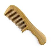 "Handmade Natural Green Sandalwood Medium Tooth Hair Comb / Beard Comb, No Static Wooden Comb with Handle 7"""