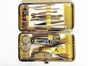 Professional Stainless Steel Nail Clipper Set of 12pcs with Luxurious Case(Gold) Travel & Grooming Kit Nail Tools Manicure & Pedicure