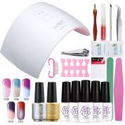 Sexy Mix Soak Off Gel Nail Polish Starter Kit SUNUV 9C Nail Dryer LED Lamp Colour Changing Gel Polish 5 Colours