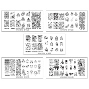 Bundle Monster 5pc XL Nail Art Stamping Plate Set - Kawaii Emoji