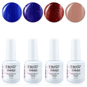 Qimisi Soak Off Gel Polish Lacquer UV LED Nail Art Manicure Kit 4 Colours Set LM-C165 + Free Gift