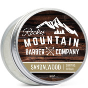 Shaving Cream for Men – With Natural Sandalwood Essential Oil – Hydrating, Anti-inflammatory Rich & Thick Lather for Sensitive Skin & All Skin Types by Rocky Mountain Barber Company – 150ml