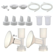 Maymom Pump Parts for Ameda Purely Yours Pumps; Incl. Silicone Membrane, Duckbill, Tubing, Flange; Replaces Ameda Spare Parts Kit