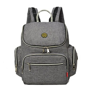 Yoovi Large Capacity Multifunction Mummy Bags Nappy Tote Backpack with Changing Mat & Insulated Bag,Grey