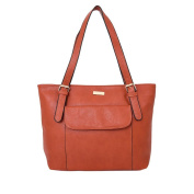 WOMENS NEW PU LEATHER FRONT POCKET SHOULDER TOTE SHOPPER BAG