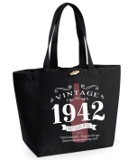 75th Birthday, 75th Birthday Idea, 75th Birthday Bag, Tote, Shopping Bag, Great 75th Birthday Present, 75th Birthday Gift 1942 Birthday, Vintage Red Bottle