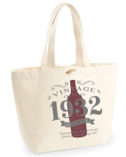 85th Birthday, 85th Birthday Idea, 85th Birthday Bag, Tote, Shopping Bag, Great 85th Birthday Present, 85th Birthday Gift 1932 Birthday, Vintage Red Bottle
