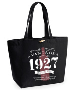 90th Birthday, 90th Birthday Idea, 90th Birthday Bag, Tote, Shopping Bag, Great 90th Birthday Present, 90th Birthday Gift 1927 Birthday, Vintage Red Bottle