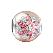Soufeel Rose Gold Lucky Flower Charms 925 Sterling Silver Fit European Bracelets and Necklaces
