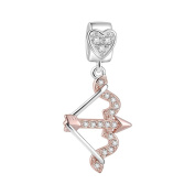 Soufeel Rose Gold the Arrow of Love Charms 925 Sterling Silver Fit European Bracelets and Necklaces