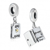 "925 Sterling Silver Dangling ""We Love You / Happy Mother's Day"" Opening Card Charm Bead Fit Pandora Charms Bracelets-Shining Charm"