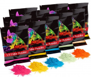 Holi UV Glow (Ultra Violet) Colour Powder 12 Pack 70 Grammes White,Yellow,Orange,Blue,Green,Pink