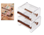 Ace Select 2 Pcs 1 Layer Washi Tape Cutting Dispenser, Roll Tape Holder for Washi Masking Tape DIY Stickers