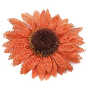 Package of 6 Orange Burlap Sunflower Heads with Attached Alligator Clips for Crafting, Embellishing and Designing
