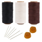 AMPSEVEN 3PCS 219 Yards 1mm Leather Sewing Flat Waxed Thread+6PCS Professional Leather Hand Sewing Needles+2PCS Beeswax for DIY Leather