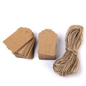 Goege Kraft Paper Tags,100Pcs Thank You Gift Tags Bonbonniere Tags with 30m Natural Jute Twine String