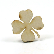 Mylittlewoodshop - Pkg of 12 - Shamrock - 5.1cm by 5.1cm with 4 leaf and 0.3cm thick unfinished wood