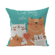 Nunubee Cute Cushion Cover Linen Square Home Decor Pillow Case Decorative Home Accessories Four Cats