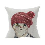 Nunubee Cute Cushion Cover Linen Square Home Decor Pillow Case Decorative Home Accessories Cat 1