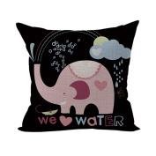 Nunubee Cute Cushion Cover Linen Square Home Decor Pillow Case Decorative Home Accessories Elephant 1