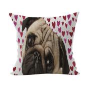 Nunubee Cute Cushion Cover Linen Square Home Decor Pillow Case Decorative Home Accessories Pug