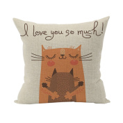 Nunubee Cute Cushion Cover Linen Square Home Decor Pillow Case Decorative Home Accessories Orange Cat