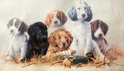 "1987 Dimensions 50cm x 30cm Stamped Crewel Embroidery Kit #3410cm School Daze"" Dogs"