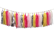 Fonder Mols 25pcs Tissue Paper Tassel DIY Party Garland Colour Ivory Yellow Pink Rosy Red Silver