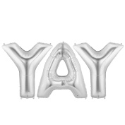 YAY Alphabet Word Balloons - Silver Foil Celebration Letters 100cm