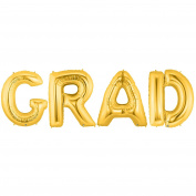 GRAD Alphabet Word Balloons - Gold Foil Celebration Letters 100cm