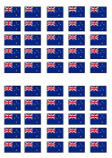 50 New Zealand Flag Edible PREMIUM THICKNESS SWEETENED VANILLA, Wafer Rice Paper Cupcake Toppers/Decorations