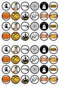 48 Halloween #1 Edible PREMIUM THICKNESS SWEETENED VANILLA, Wafer Rice Paper Cupcake Toppers/Decorations