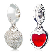 ATHENAIE 925 Silver Plated Platinum with Pave Clear CZ Heart Lock Love Mother Pendant