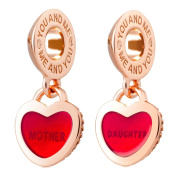 ATHENAIE 925 Silver Plated Rose Gold with Pave Clear CZ Heart Lock Love Mother Love Daughter Pendant Charm Beads