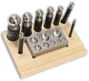 10 PC DAPPING PUNCH & BLOCK SET 8 Piece Punches 5mm-27mm With Wood Holder By Best Jewellery Supply