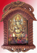 Lord Ganpati Ganesha with Bells Poster Painting in Wood Craft Jharokha Art Crafts Handicrafts