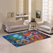 JC-Dress Area Rug Cover Colourful Octopus Modern Carpet Cover 2.1mx1.5m