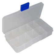 Clear Plastic Box Containers for Jewellery Beads and Findings, 10 Grids , 7cmx13cmx2.3cm
