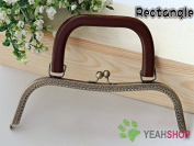 Antique Brass Rectangle Embossed Purse Frame with Handle - 26cm / 10 inch