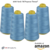 4-Pack of 6000 Yards (EACH) Light Blue Serger Cone Thread All Purpose Sewing Thread Polyester Spools Overlock