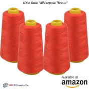 4-Pack of 6000 Yards (EACH) Red Serger Cone Thread All Purpose Sewing Thread Polyester Spools Overlock