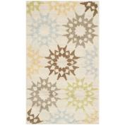 Safavieh Martha Stewart Collection MSR1843A Quilt Cotton Area Rug, 0.6m by 1.2m, Cream