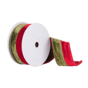Vickerman Q150322 Double Sided Front & Back Velvet Ribbon with Wired Edge, 6.4cm x 10 yd, Red/Green