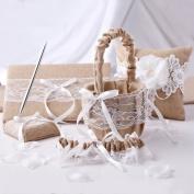 KateMelon 5-Piece Rustic Burlap and Lace Wedding Collection Set