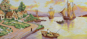 SAILING SHIPS BY THE VILLAGE NEEDLEPOINT CANVAS FROM DIAMANT #B1285 CANVAS ONLY