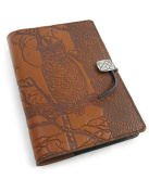 Night Owl Embossed Leather Writing Journal 15cm x 23cm + Refillable Hardbound Insert Book