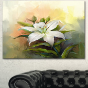 Designart PT15026-32-16 White Lily Flower Oil Painting Wall Art Canvas, 80cm x 41cm