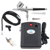 OPHIR 12V DC 0.3mm Dual-Action Airbrush Kit & Mini Black/Yellow Air Compressor