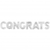 CONGRATS Alphabet Word Balloons - Silver Foil Celebration Letters 100cm